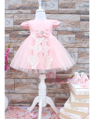 Yavruağzı renk tül etekli ekru aplike detaylı zarif elbise seti