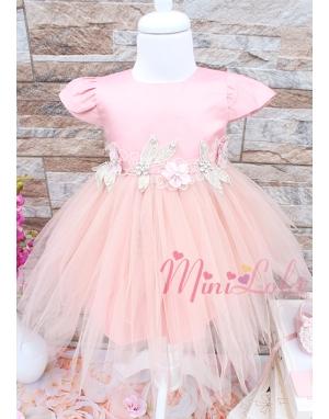 Pudra renk parça kesim etekli çiçek aplike detaylı zarif elbise seti