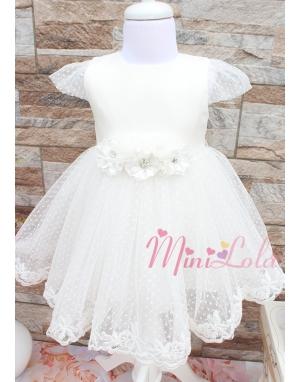 Kırık beyaz kalp puantiye tül etekli aplikeli zarif elbise seti