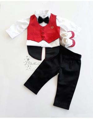 Siyah kırmızı renk frag yelek detaylı papyonlu takım elbise seti