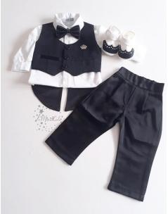 Siyah renk frag yelek detaylı papyonlu takım elbise seti