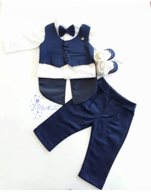 Lacivert renk frag yelek detaylı papyonlu takım elbise seti