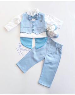 Mavi renk frag yelek detaylı papyonlu takım elbise seti