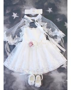 Ekru renk üzeri çiçek tül detaylı pelerinli zarif elbise seti