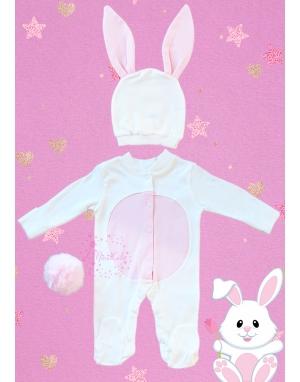 Ekru pembe renk tavşan modelli tulum seti