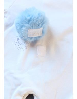 Ekru mavi renk tavşan modelli isimli tulum seti