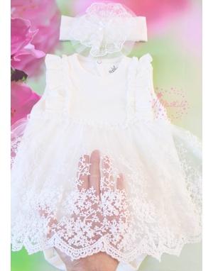 Ekru renk fırfırlı dantel etekli zarif badi elbise seti