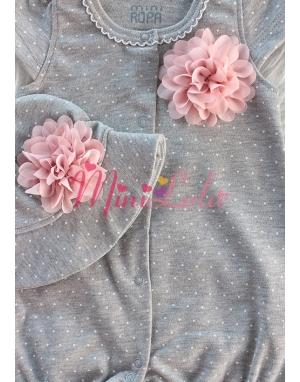 gri pudra puantiye desenli pudra çiçekli şapka tulum seti