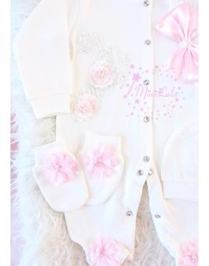 Pembe ekru renk kabarık dantel çiçekli penye tulum seti
