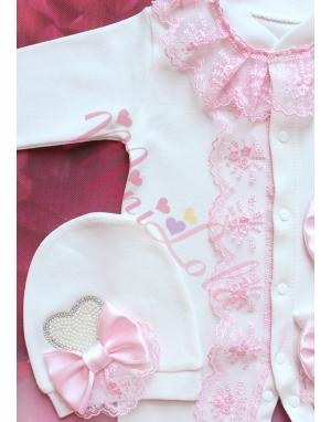 Pembe renk dantel işlemeli fiyonk krem inci kalp taş süslü tulum seti