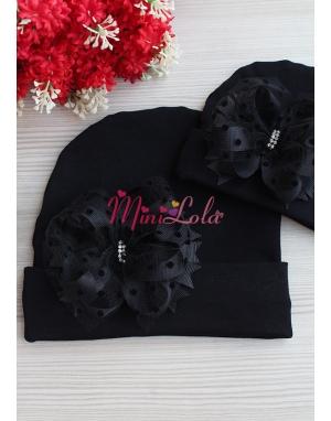 Siyah fiyonk katlı puantiyeli tül süslemeli şık bere anne kız takımı