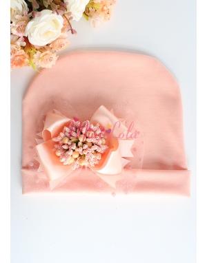 Açık somon renkli tomurcuk çiçekli tül süslemeli bere