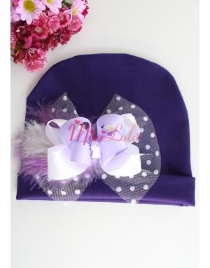 Mor renkli lila beyaz fiyonklu puantiye tül süslemeli bere