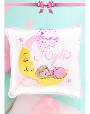 Pembe renkli ay ve uyuyan bebek nakış işlemeli isimli takı yastığı