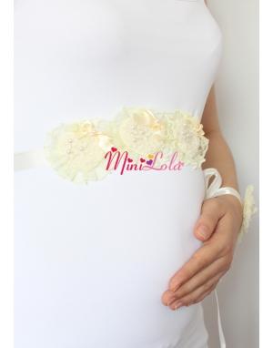 Sarı inci kalpli fırfırlı sıralı hamile kemeri