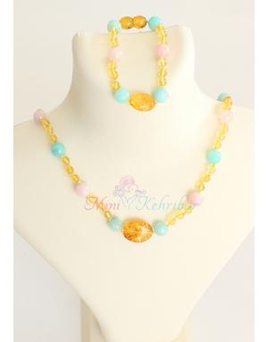 Bal rengi mini kehribar taşlı opal taş süslü kolye bileklik seti