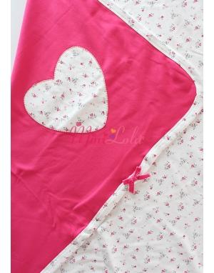 Fuşya çift taraflı çiçek detaylı battaniye