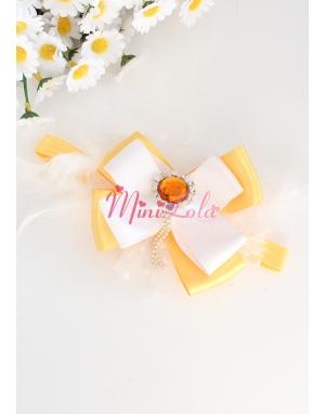 Sarı beyaz renk fiyonklu taş süslü saç bandı