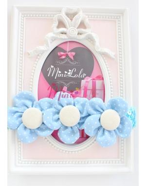 Mavi puantiye çiçekli sıralı saç bandı