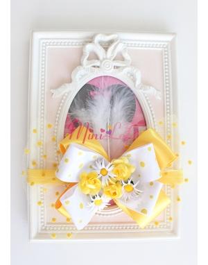 Sarı papatya güllü puantiyeli çiçek fiyonklu saç bandı