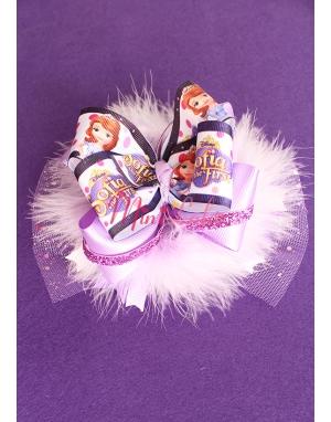 Disney sofia karakterli lila tüylü simli tül süslemeli saç bandı