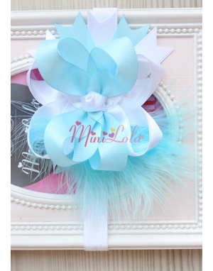 Mavi beyaz renkli tüy süslemeli saç bandı