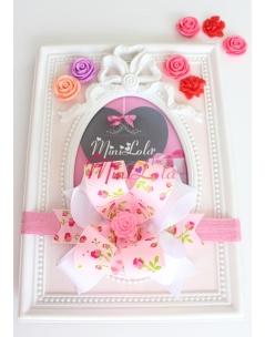 Pembe lale desenli çiçek taşlı beyaz fiyonklu saç bandı