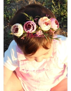Lila krem renkli küçük erengül çiçekli yapraklı saç bandı