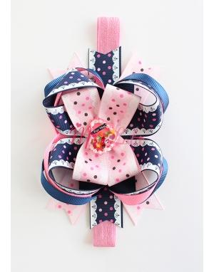Lacivert pembe dantel desenli puantiyeli pasta taşlı şirin saç bandı