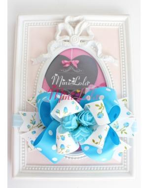 Mavi puantiyeli lale desenli kurdelalı minik gül çiçekli saç bandı