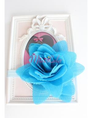 Mavi büyük çiçekli saç bandı