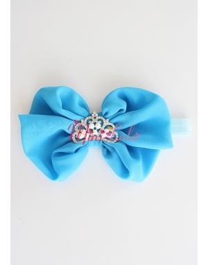 Mavi fiyonklu inci prenses taşlı saç bandı