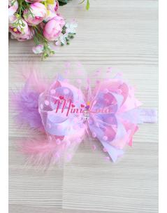 Pembe lila renk fiyonklu puantiye tüllü tüy süslemeli saç bandı