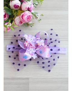 Lila renk kelebek desenli ortanca çiçek süslü saç bandı