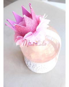 Pembe simli prenses taç şekilli çiçek süslü saç bandı