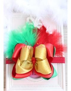 Gold yeşil kırmızı renkli fiyonklu tüy süslemeli saç bandı