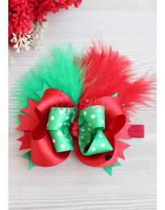 Yeşil puantiyeli kırmızı fiyonklu tüy süslemeli saç bandı