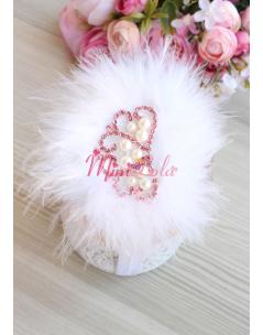 Beyaz tüylü inci prenses taş süslemeli saç bandı