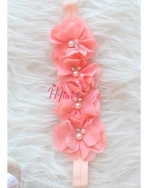 Somon renk şifon çiçekli taş inci süslü saç bandı