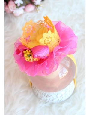 Sarı renk taçlı pembe tül süslü çiçekli prenses saç bandı