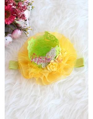 Yeşil sarı renk tül tüy süslemeli gold kelebek detaylı prenses saç bandı