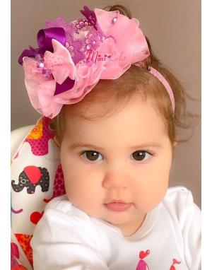 Mor pembe renk süslü taş detaylı fiyonklu prenses saç bandı