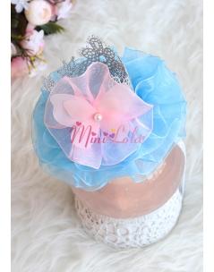Mavi renk tüllü gümüş prenses taçlı pembe detaylı saç bandı