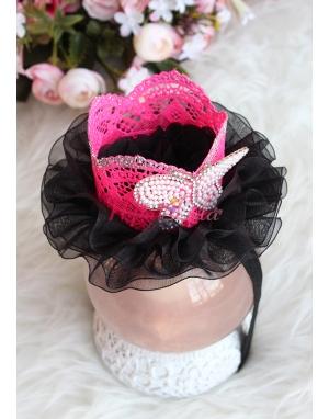 Siyah renk tüllü pembe prenses taçlı kelebek detaylı saç bandı