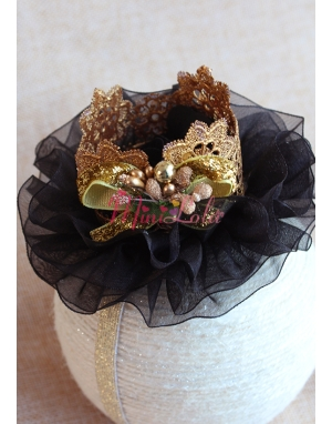 Siyah tüllü gold renk prenses taçlı saç bandı