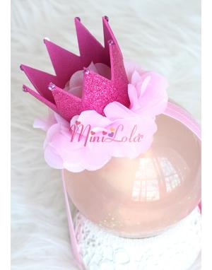 Fuşya simli prenses taç şekilli çiçek süslü saç bandı