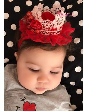 Prenses taç şekilli zarif pudra dantelli kırmızı tüllü şirin saç bandı