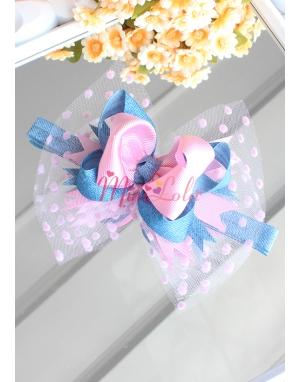 Pembe mavi jean desenli tüllü şirin saç bandı