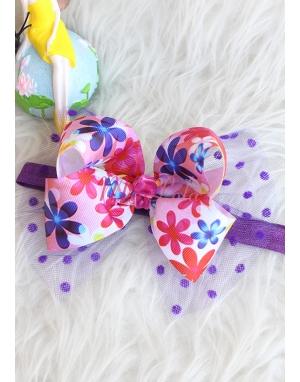 Mor pembe çiçek desenli puantiye tül süslü saç bandı