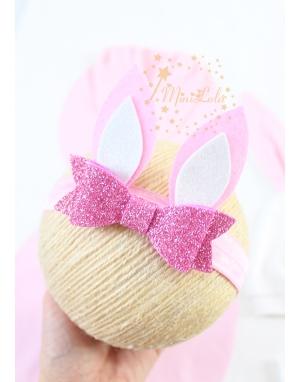 Pembe beyaz renkli simli tavşan kulaklı şirin saç bandı